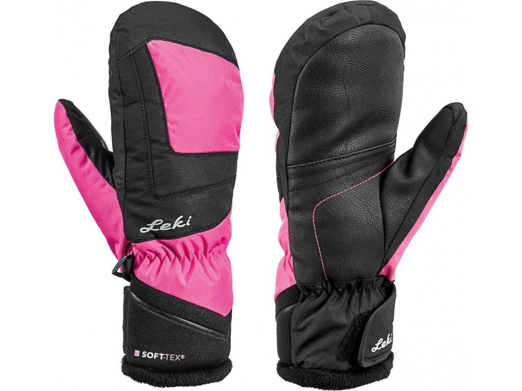 Rukavice palcové Leki NICO JUNIOR MITT black pink jpg