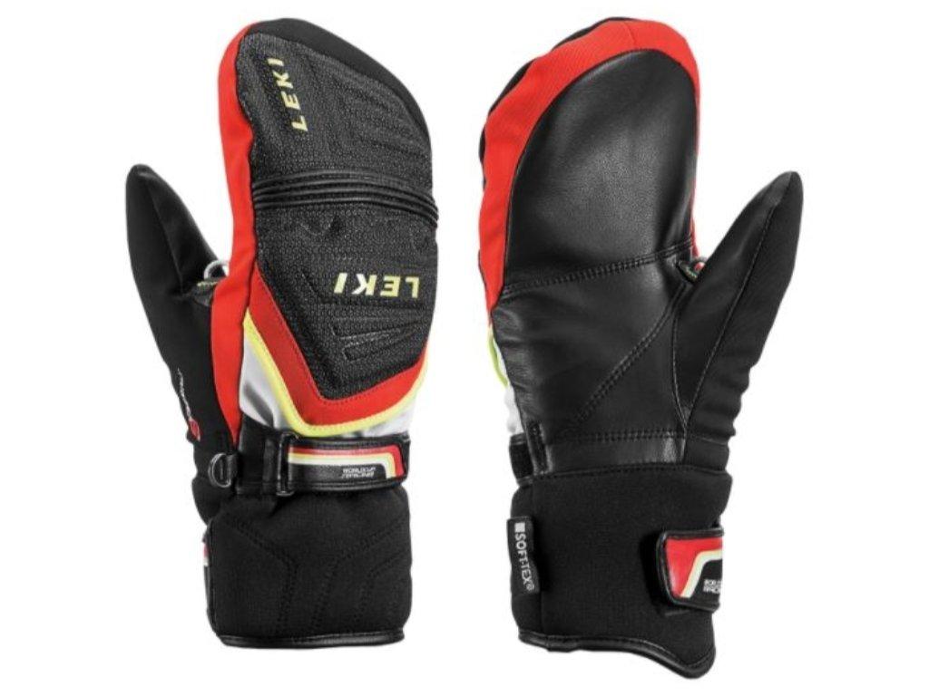 Rukavice palcové Leki RACE COACH C TECH S JR MITT, black red white yellow