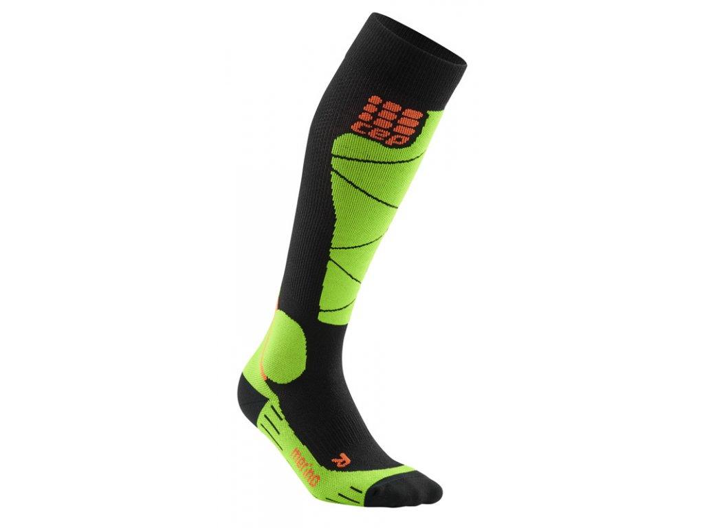 Ponožky Cep SKI MERINO COMPRESSION SOCKS, black lime 01