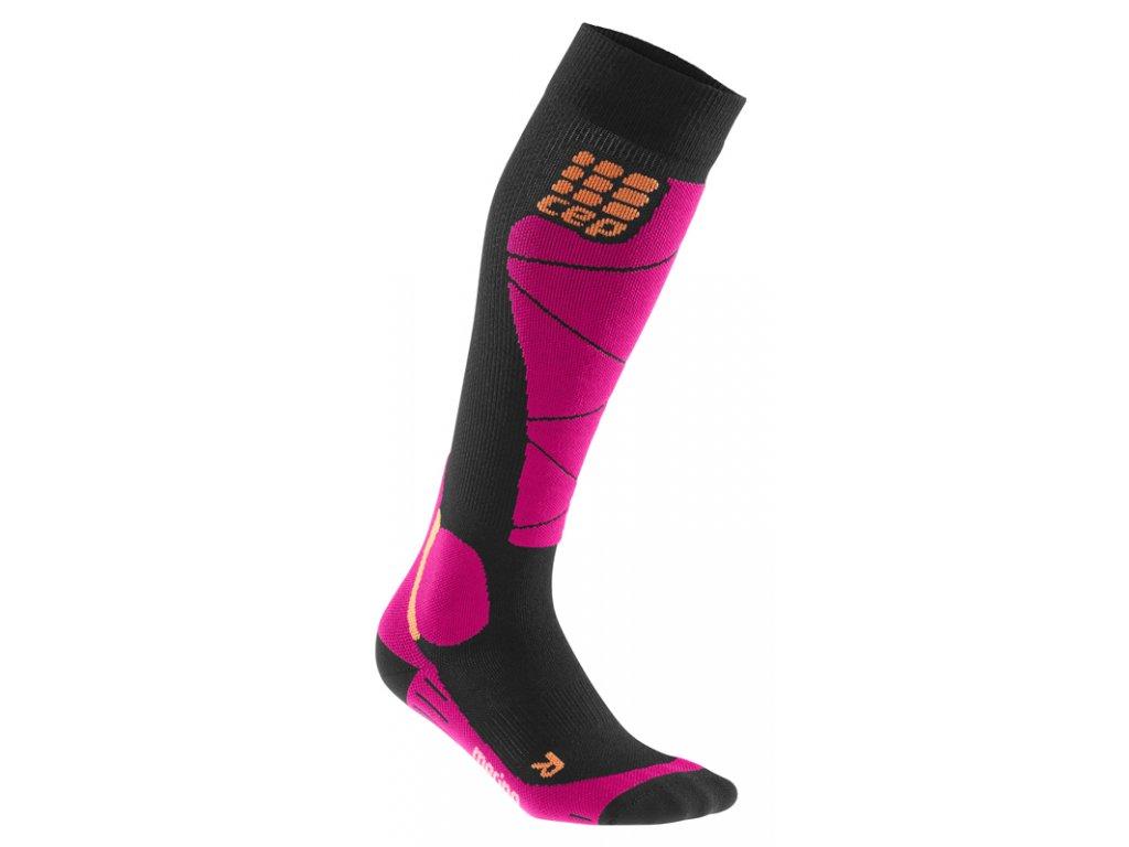 Ponožky W Cep SKI MERINO COMPRESSION SOCKS, black pink 01