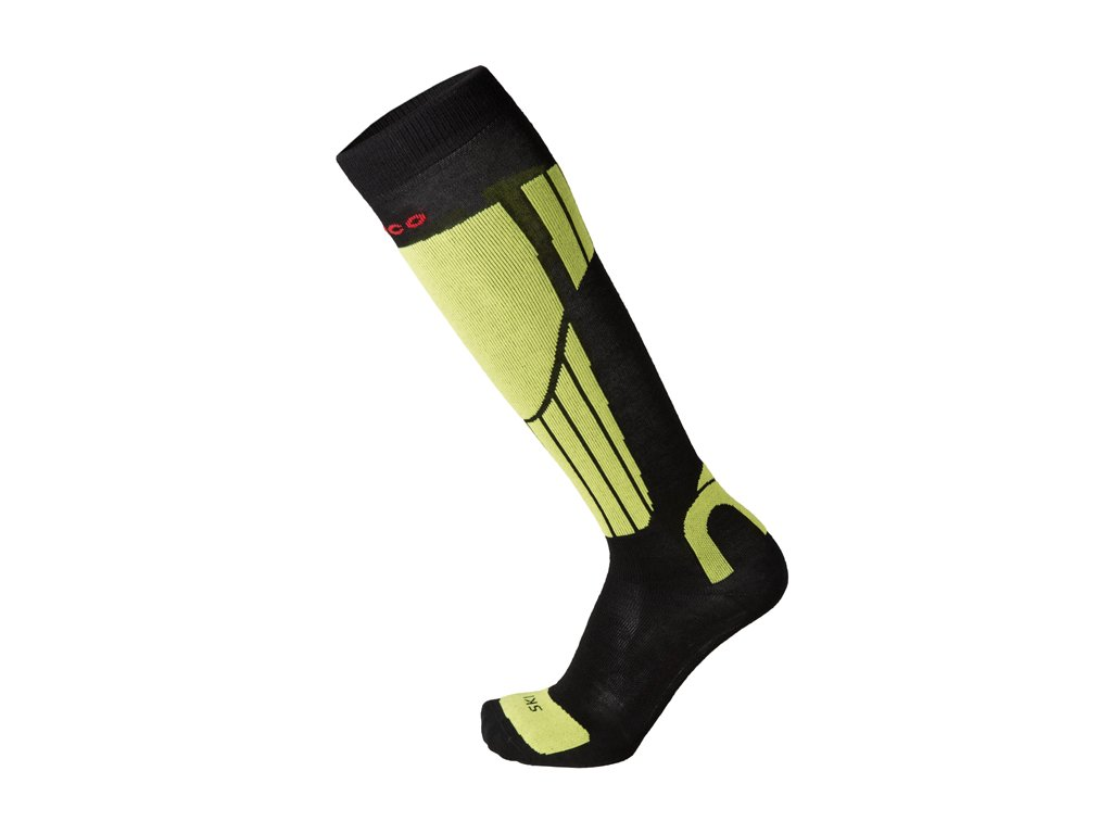 Ponožky Mico NATURAL MERINO SKI SOCKS, nero giallo fluo