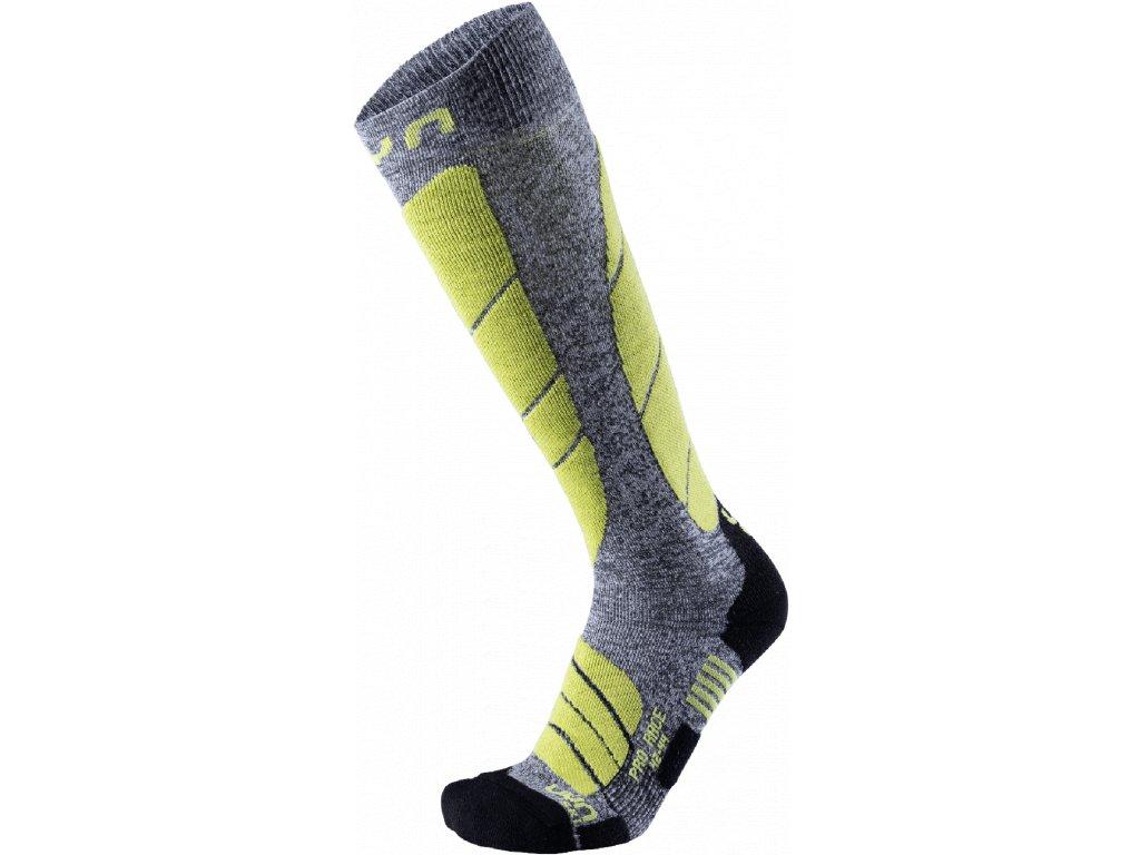 Ponožky UYN SKI PRO RACE MAN, grey melange green lime 01