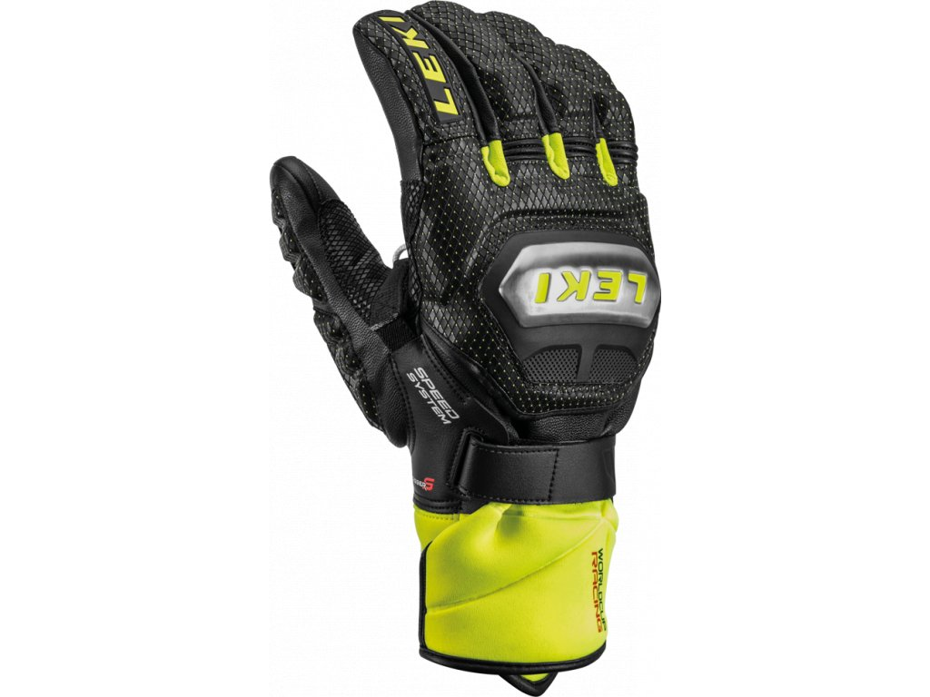 Pánské rukavice Leki WC RACE TI S SYSTEM, black/ice lemon