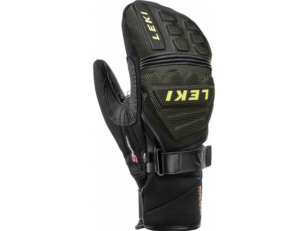 Pánské rukavice palcové Leki RACE COACH C-TECH S MITT, black/ice lemon