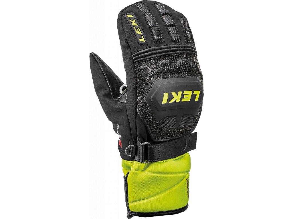 Rukavice palcové Leki WC RACE COACH FLEX S GTX JUNIOR MITT, black ice lemon 01
