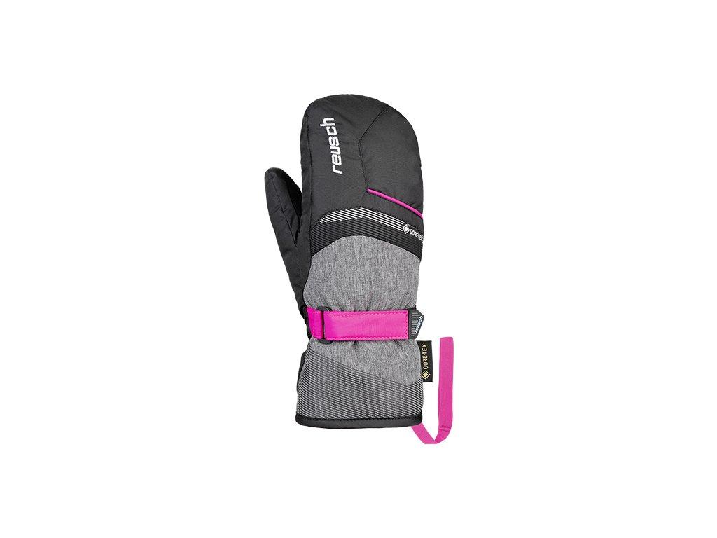 Rukavice palcové Reusch BOLT GTX JUNIOR MITTEN, black/black melange/pink glo