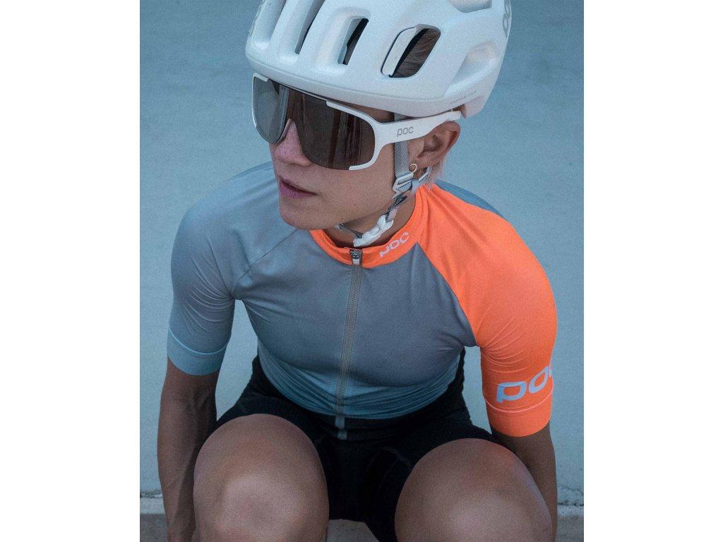 Cyklistický dres POC Essential Road Women's Jersey Granite Grey Zink Orange 01