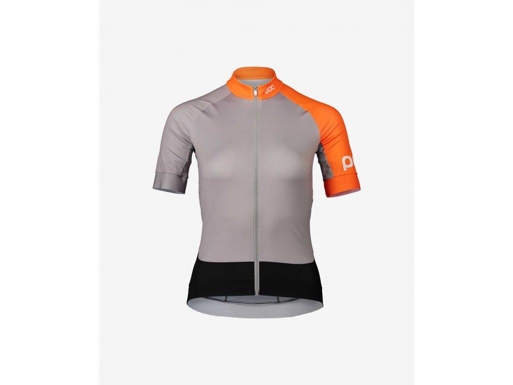 Cyklistický dres POC Essential Road Women's Jersey Granite Grey/Zink Orange