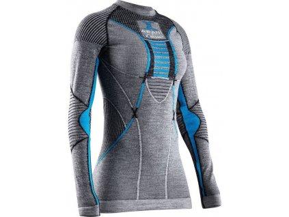 Triko X Bionic APANI® 4.0 MERINO SHIRT ROUND NECK LG SL WMN, black grey turquoise 01
