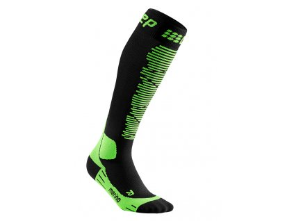 Ponožky Cep SKI MERINO COMPRESSION SOCKS, black green 01