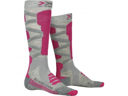 Ponožky X socks SKI SILK MERINO 4.0 WOMEN, grey melange pink