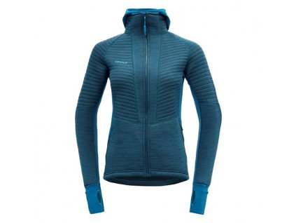 Mikina Devold TINDEN SPACER WOMAN HOOD JACKET, blue