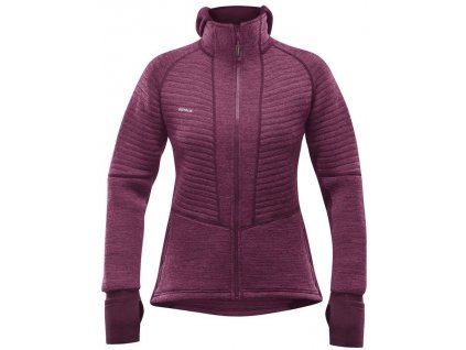 Mikina Devold TINDEN SPACER WOMAN HOOD JACKET, plum