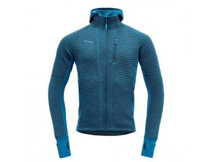 Mikina Devold TINDEN SPACER MAN HOOD JACKET, blue