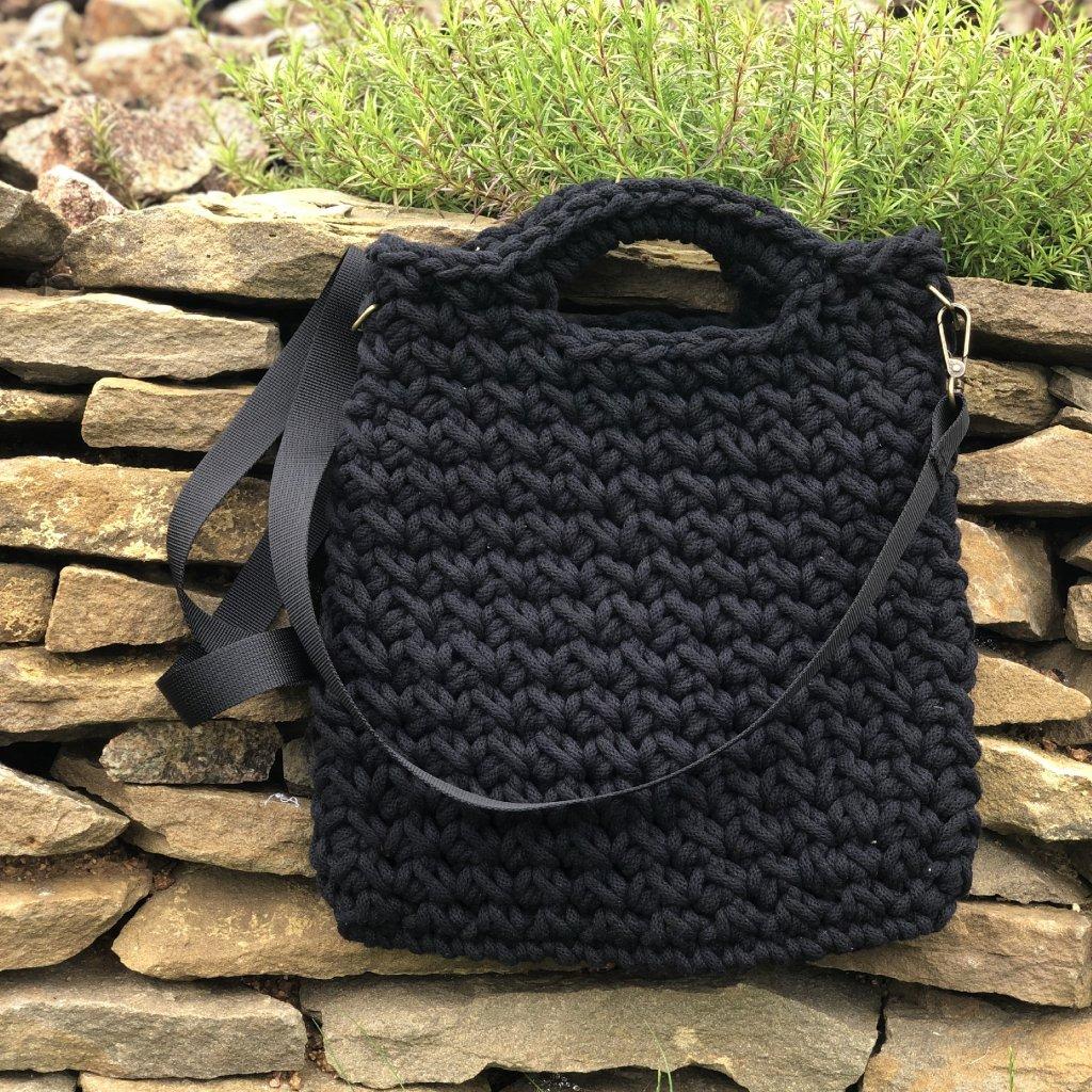 Háčkovaný tote bag STANDARD - barva ČERNÁ