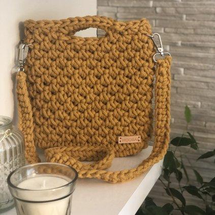 Háčkovaný tote bag Mini - barva HOŘČICE