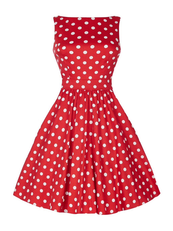 Dámské retro šaty Lady Vintage Tea Červené s puntíky - MOODA.cz 05cf25c541