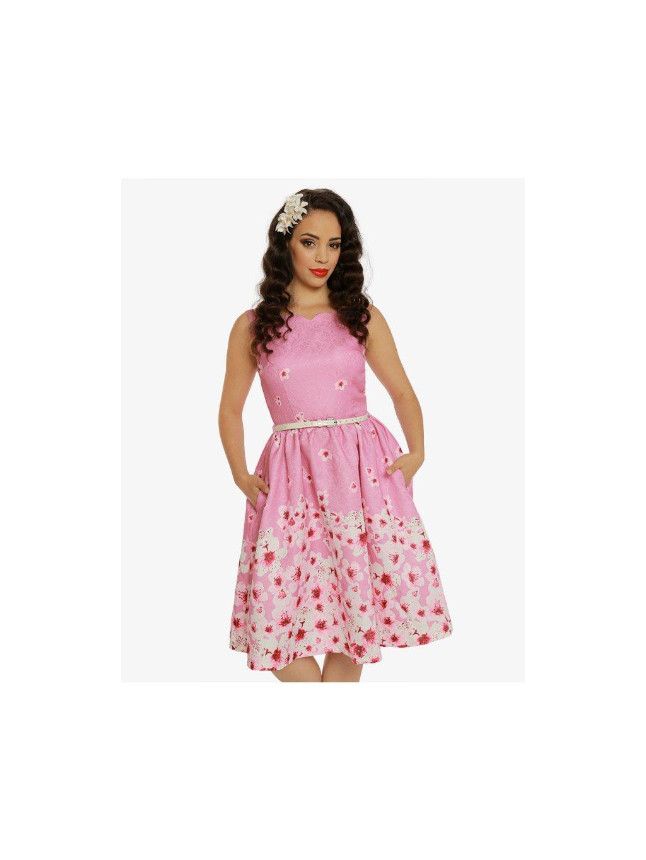 057a920d6e69 Dámské retro šaty Delta Růžové květiny - MOODA.cz