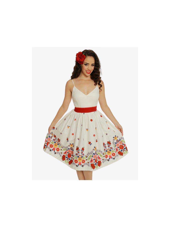 4037e8e83c85 Dámské retro šaty Honor bílé s květinami - MOODA.cz