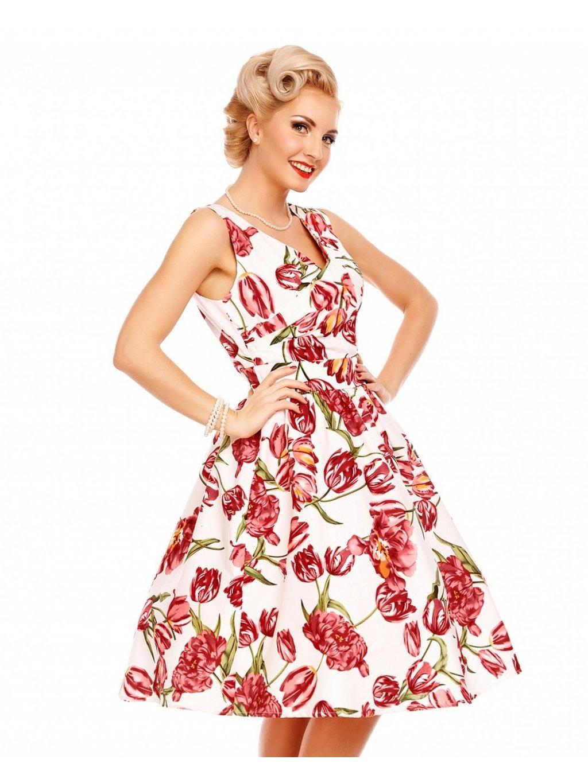 Dámské retro šaty May s tulipány bílé - MOODA.cz 87ee6d468e