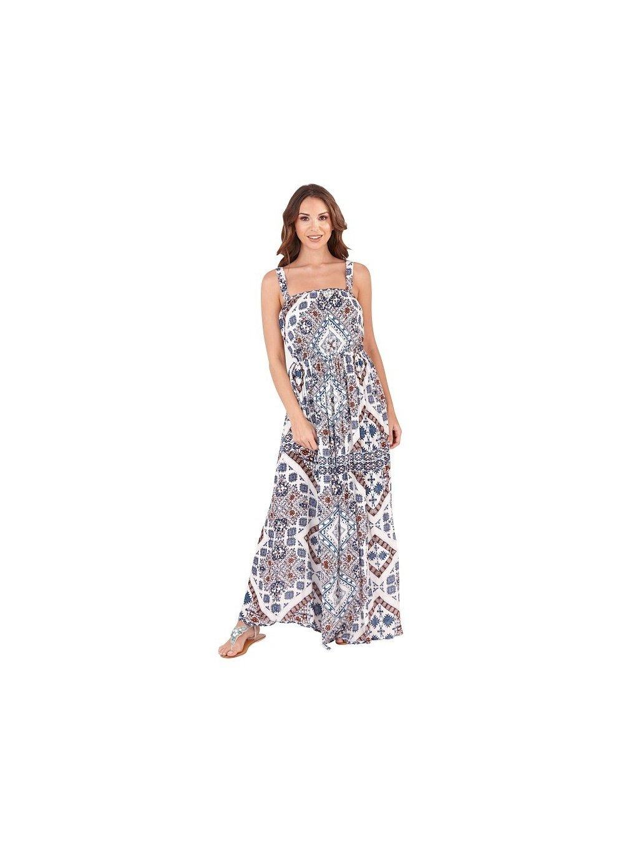 2e6840fae70 Dámské maxi šaty Etno světle modré - MOODA.cz