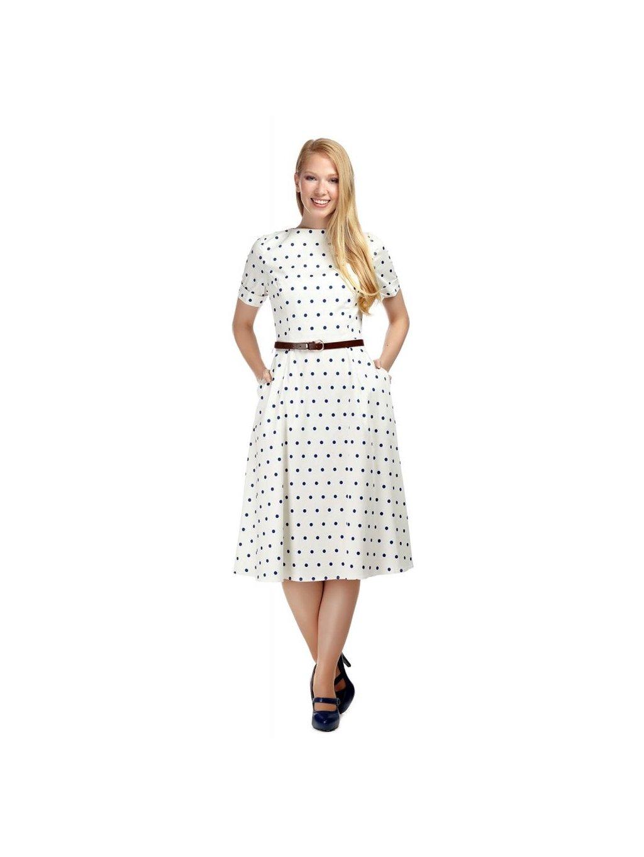 Dámské retro šaty Abby bílé s puntíky - MOODA.cz c223e77abb