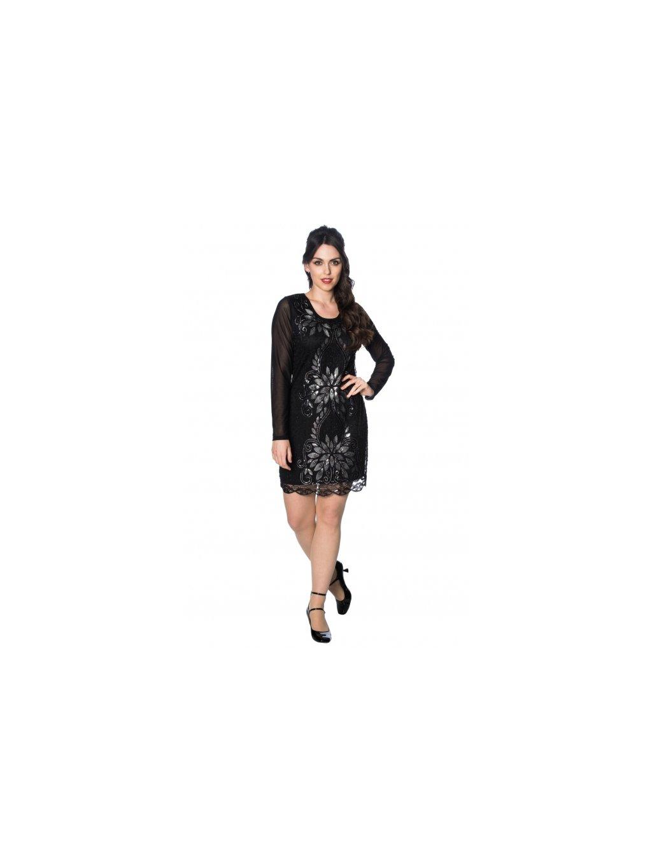 f10cca5e6d4 Dámské šaty Great Gatsby černé s dlouhým rukávem - MOODA.cz