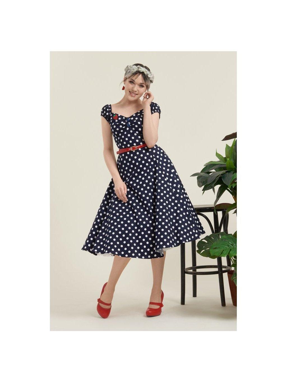 Dámské retro šaty Dolores modré s puntíky