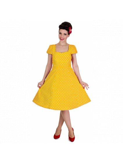 Dolly and Dotty retro šaty Claudia s puntíky, žluté