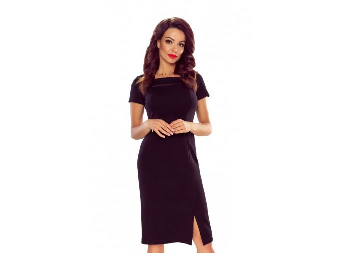 86 02 elegant dress with mesh insertion black