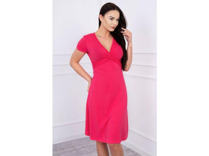 pol pm Sukienka z ozdobnym wiazaniem z przodu fuksja 12451 3
