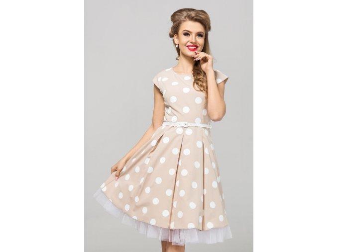 Dámské šaty Polka krémové velký puntík