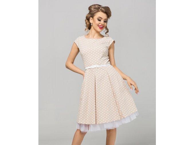 Dámské šaty Polka mini puntík krémové