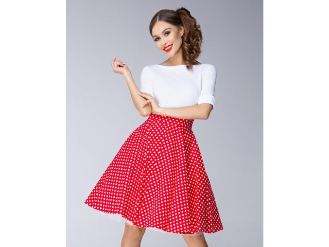 Dámská sukně Twist červená velký puntík
