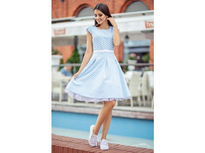 Dámské šaty Polka malý puntík světle modré