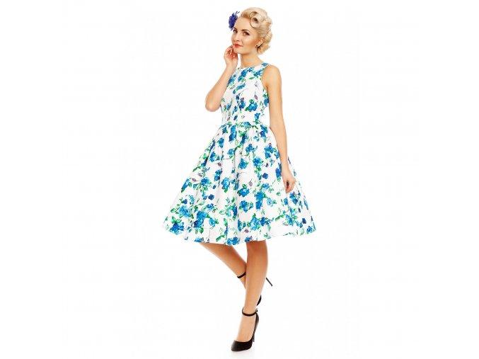 Dámské retro šaty Annie bílé s modrými květinami