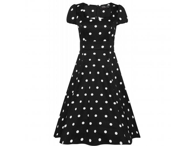Retro šaty Claudia černé s puntíky