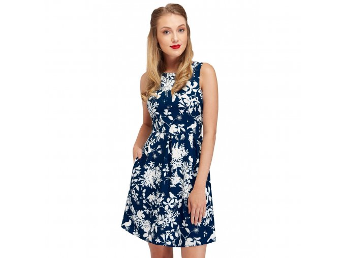 classic sleeveless dress in dark blue with white floral print joan closeup nb325 8
