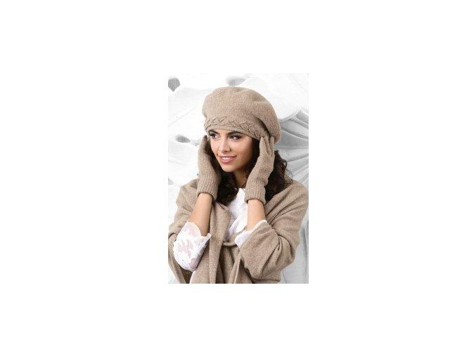 KAMEA BOLZANO beret damski ciemnobezowy