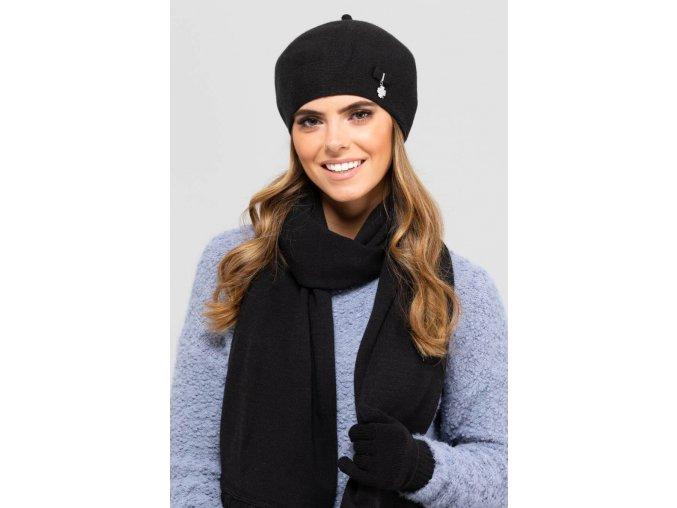 KAMEA MURCJA beret damski z kokardka i antenka czarny