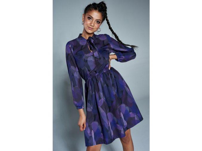sukienka z wiazaniem print fioletowa (2)