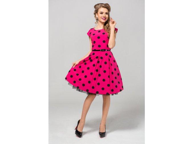 Dámské šaty Polka velký puntík růžové