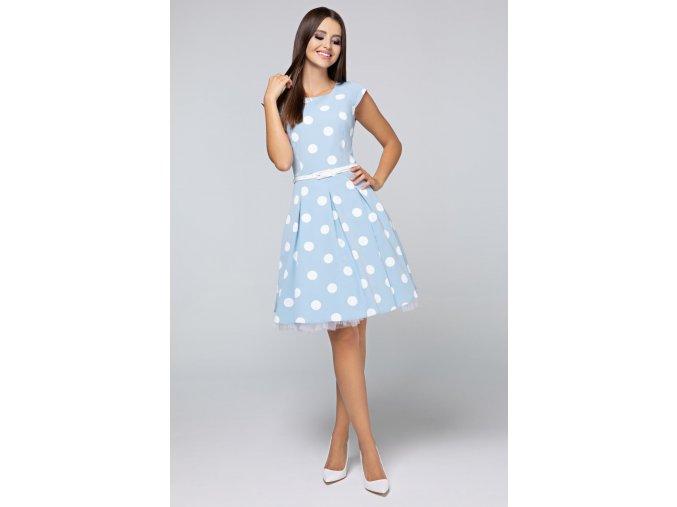 Dámské šaty Polka velký puntík světle modré