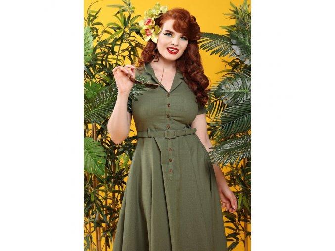 Dámské retro šaty Caterina zelené