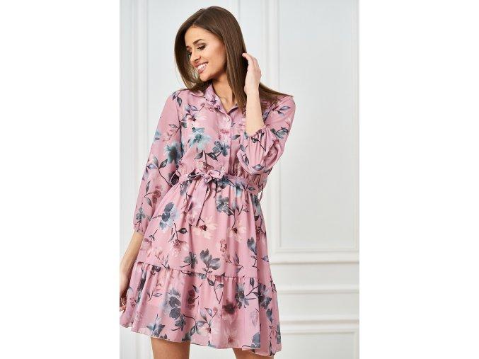 koszulowa sukienka z printem w kwiaty (1)