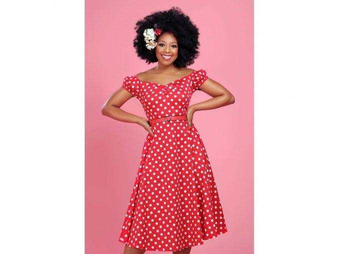 Dámské retro šaty Dolores červené s puntíky