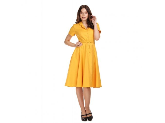 Dámské retro šaty Caterina žluté