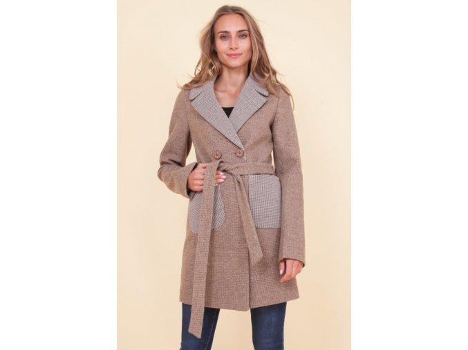 Dámský podzimní kabát Kostka, krémový