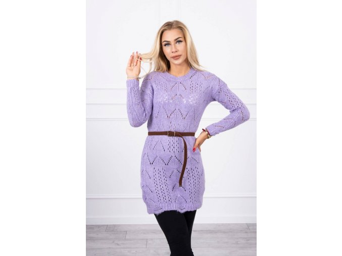 eng pl Sweater with a decorative belt purple 17963 3