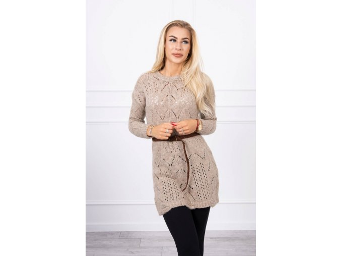 eng pl Sweater with a decorative belt beige 17959 3